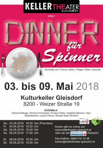 Plakat 2018 Dinner fuer Spinner kellertheater gleisdorf v3